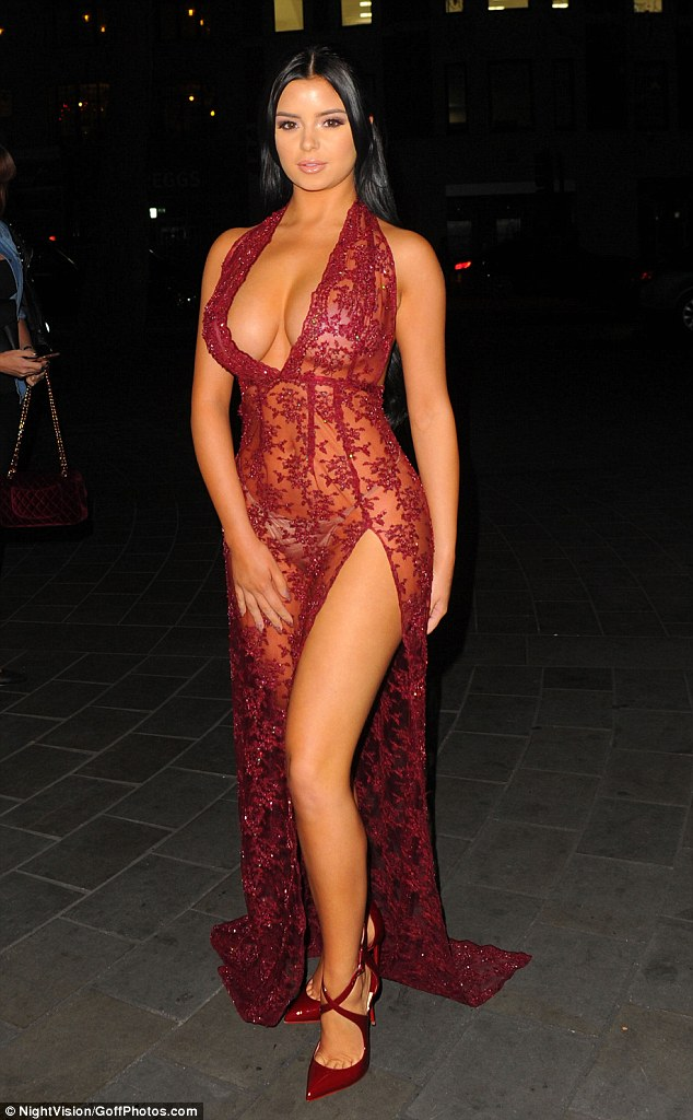 Turning heads:Demi Rose Mawby, 21, put on a similarly revealing display as she attended the new publication's launch party in London on Tuesday night