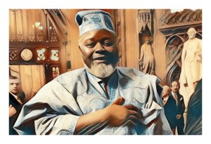 A stylised image of Bernie Grant MP in the lobby of parliament in West African traditional dress in light blue