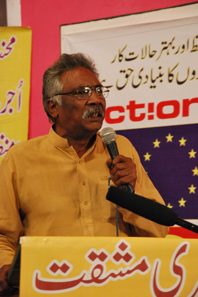 Dr Hassan Nasir President Pakistan Awami party Adressing BLLF seminar on may day 2012