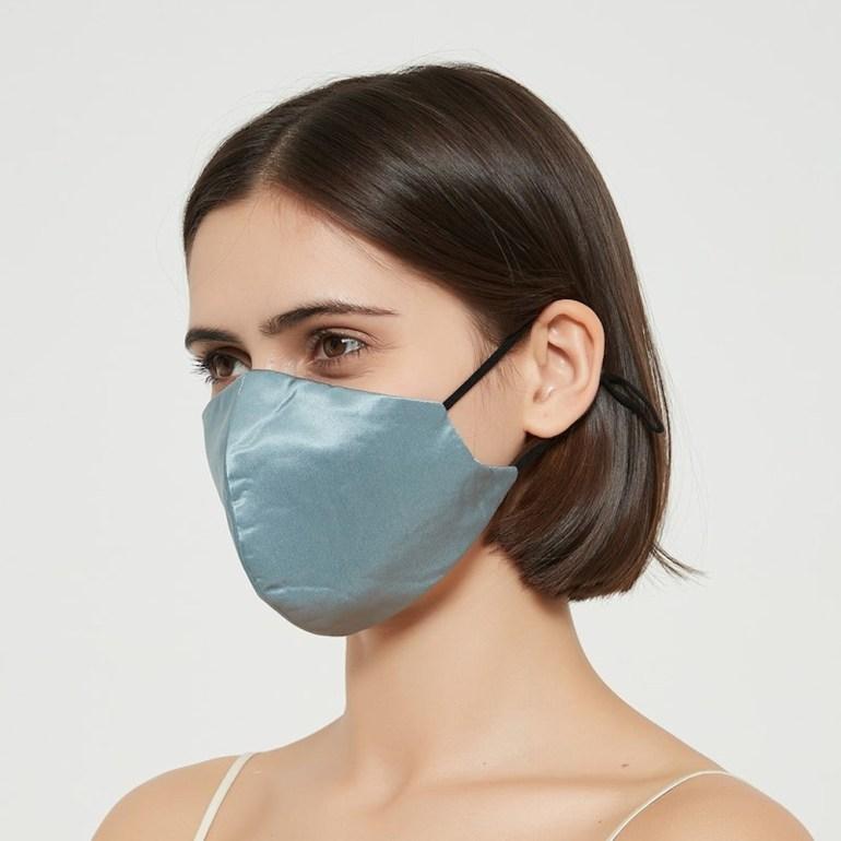 Rachel Silk Mulberry Silk Face Mask in Blue Haze
