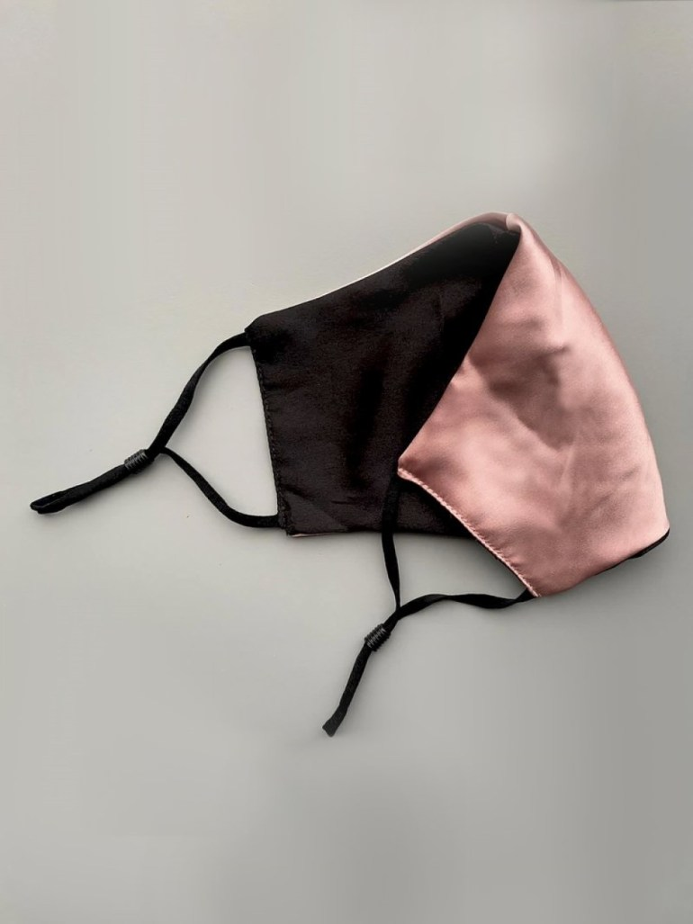 Golden Hour Pink & Black Reversible Silk Satin Face Mask