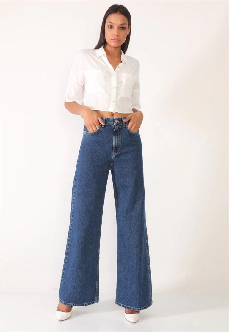 Darkly Jeans Women's High Waisted Wide Leg Jeans in Dark Blue