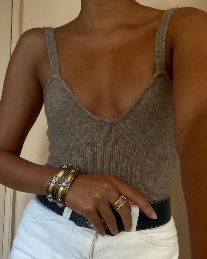 Spring 2021 Knitwear | Grey Knitted Crop Top