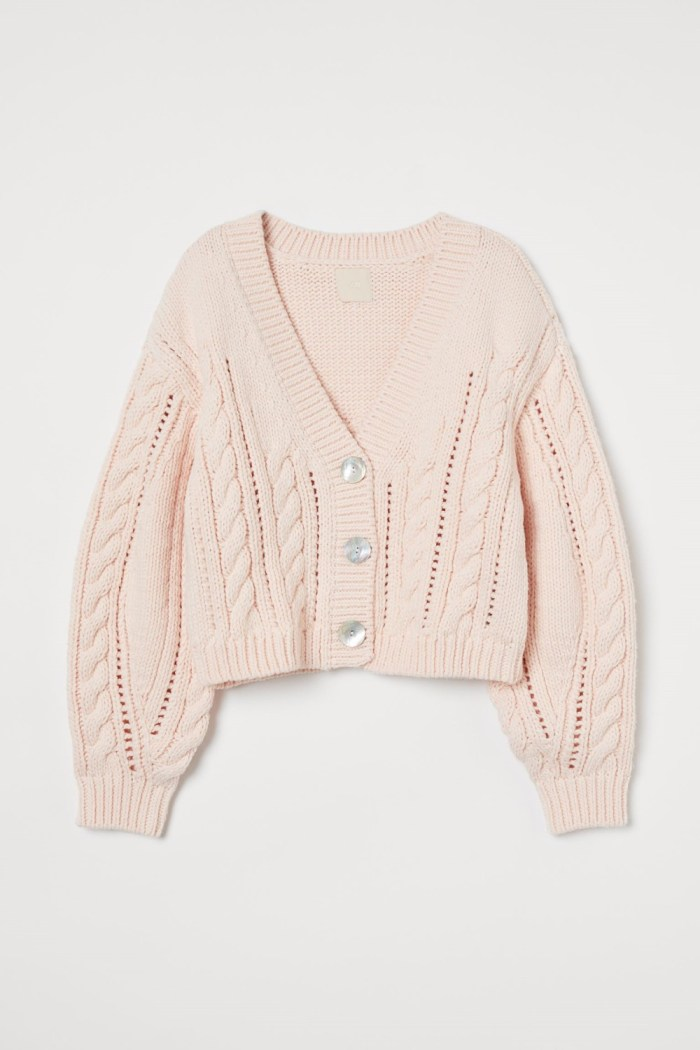 H&M Cable-Knit Cardigan - Light Pink