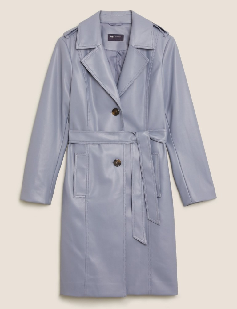 M&S Collection Faux Leather Belted Trench Coat - Medum Blue