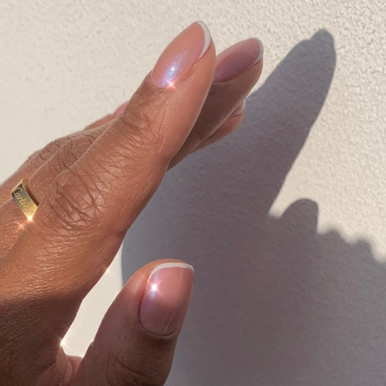 Pearlescent French Manicure by Christina Pinnock