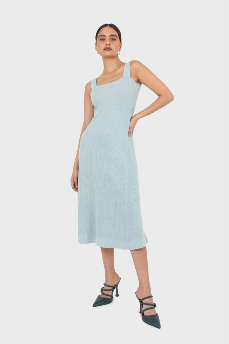 Glassworks London Blue Square Neckline Ribbed Midi Dress