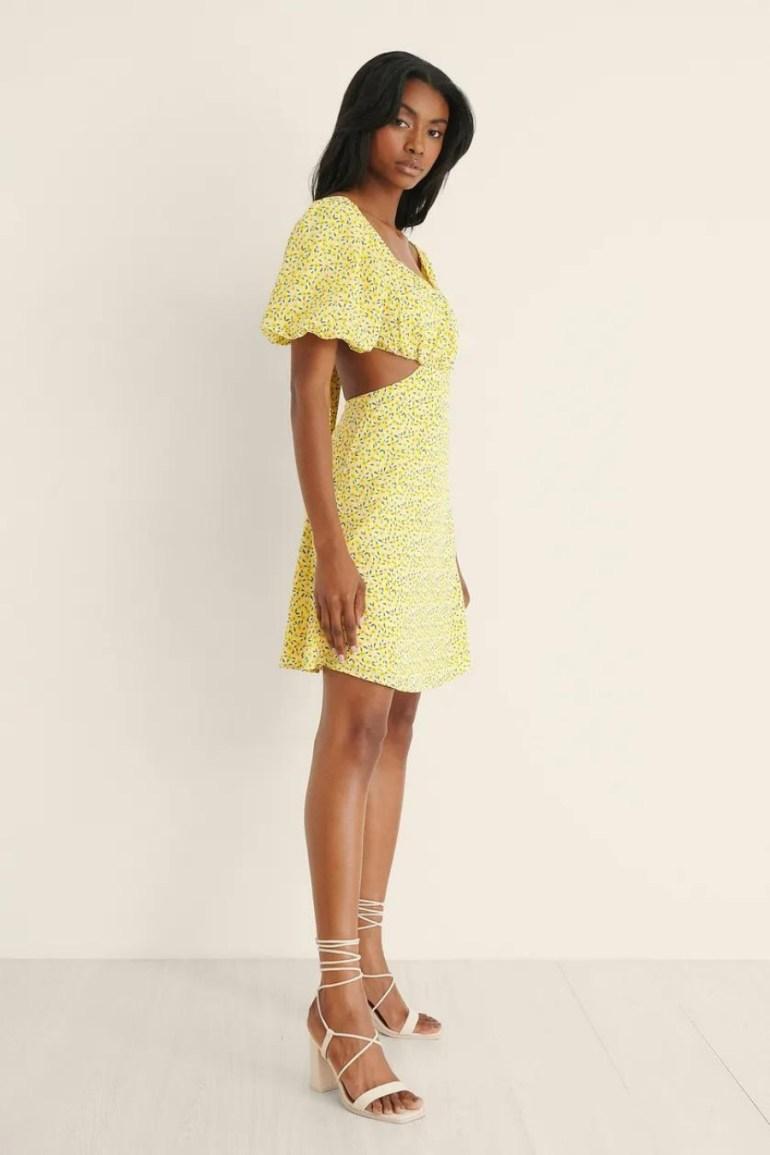 NA-KD Puffy Sleeve Ruched Mini Dress