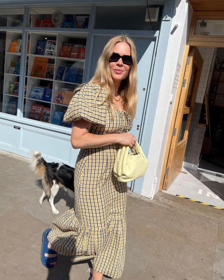 Style Influencer Jessie Bush wearing the Warehouse Check Volume Sleeve Midi Dress