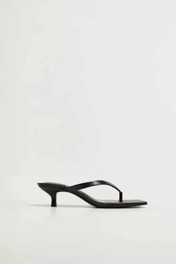 MANGO Heel Square-Toe Leather Sandals