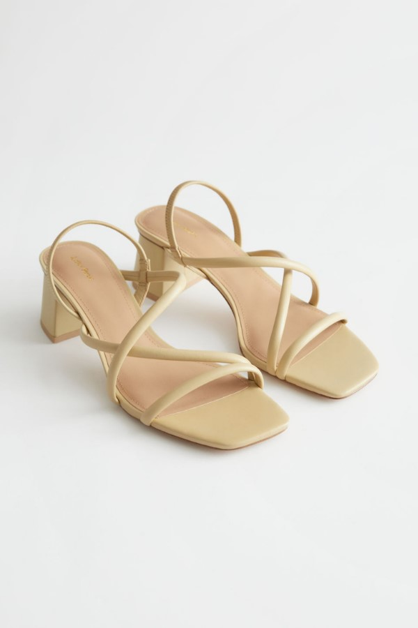 & Other Stories Chunky Strap Heeled Leather Sandals