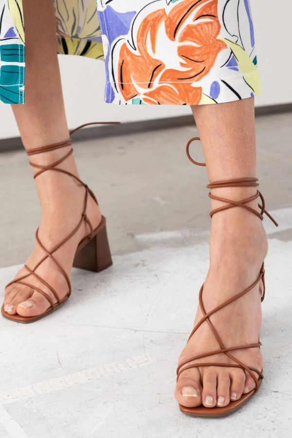 & Other Stories Leather Strappy Lace Up Heeled Sandals