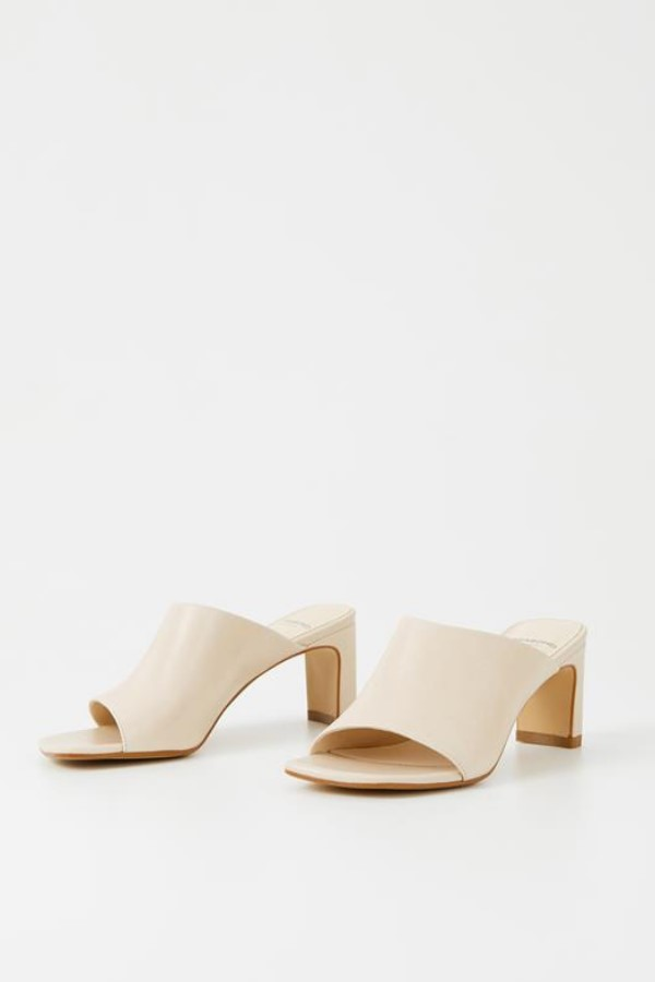 Vagabond Luisa Heeled Mule Sandals in Off White