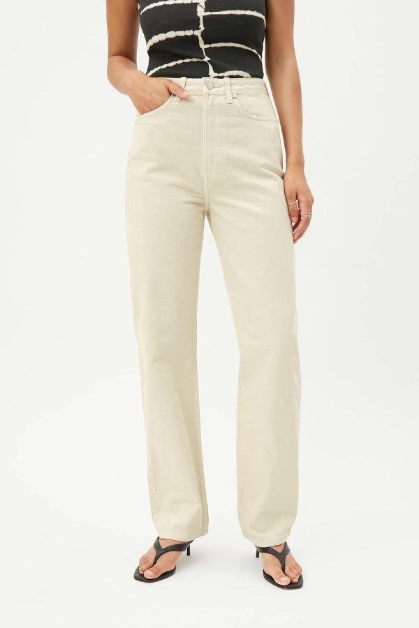 Shop the Weekday Rowe Extra High Straight Jeans - Tinted Ecru