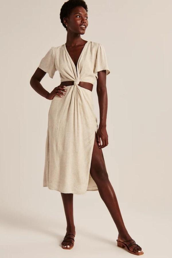 Abercrombie & Fitch Knot-Front Cutout Midi Dress - Cream