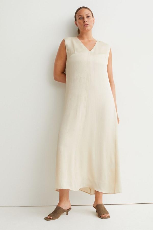 H&M Silk-Blend Dress - Light Beige