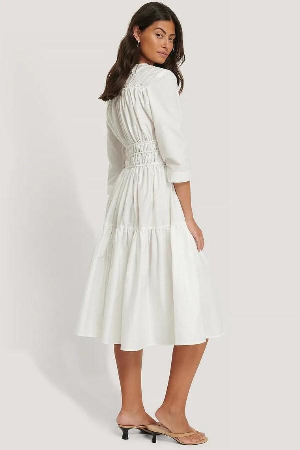 NA-KD Trend Shirred Midi Dress