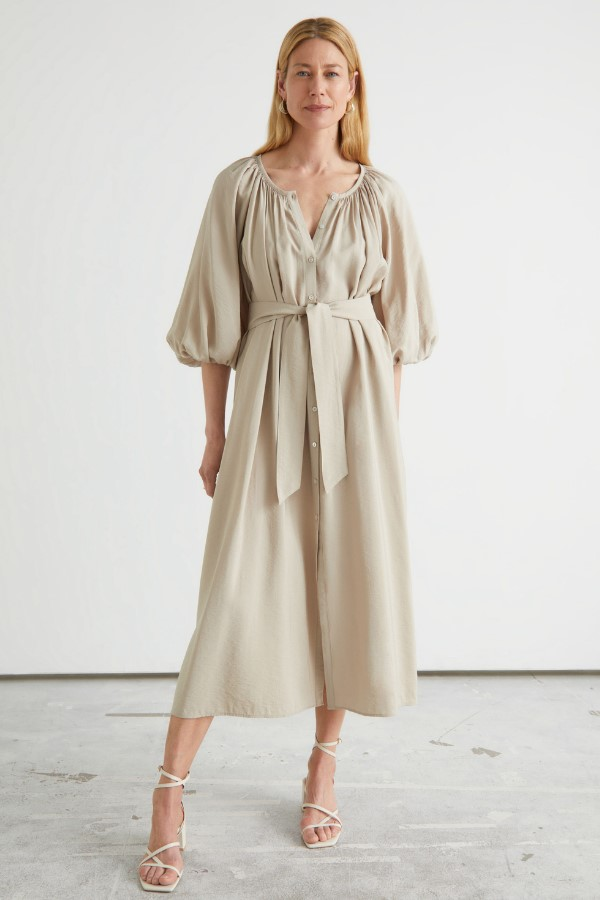 & Other Stories Belted Shell Button Midi Dress