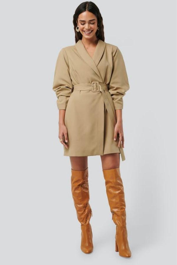 NA-KDRounded Sleeve Blazer Dress - Beige