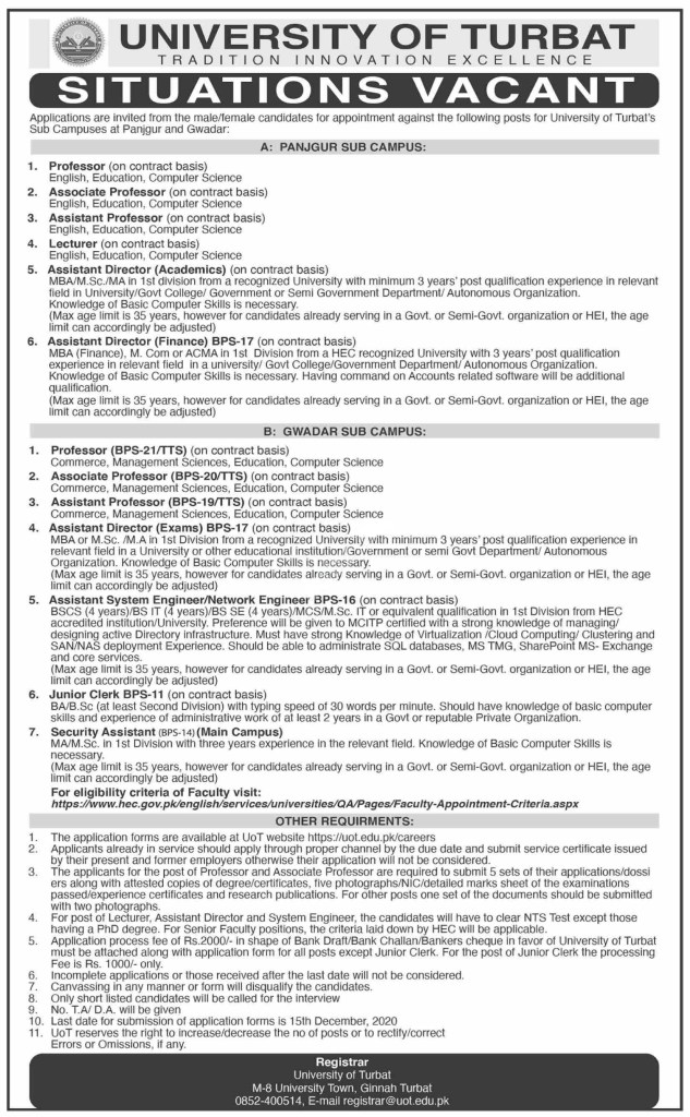 University of Turbat UOT Jobs 2020
