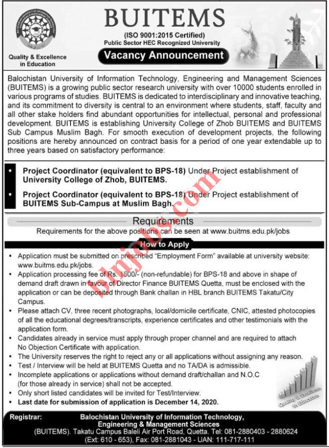 BUITEMS Balochistan University Jobs