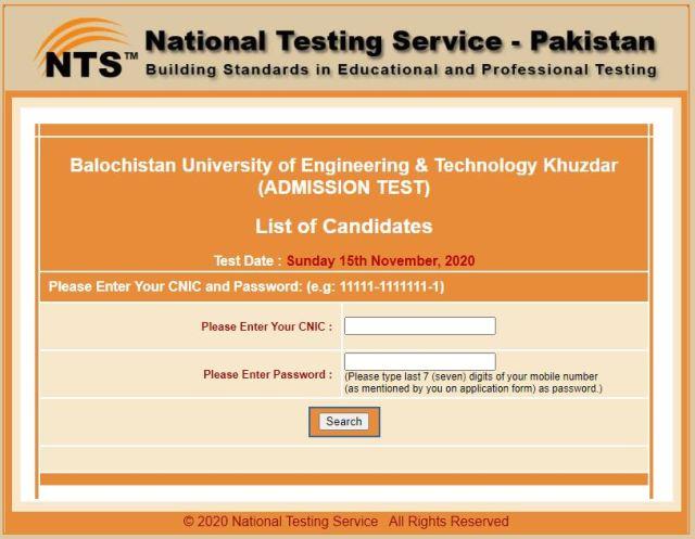 Balochistan University of Engineering & Technology Khuzdar (ADMISSION TEST