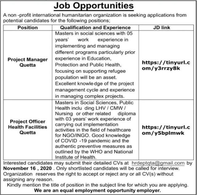 NGOs Jobs in Quetta Balochistan 2020