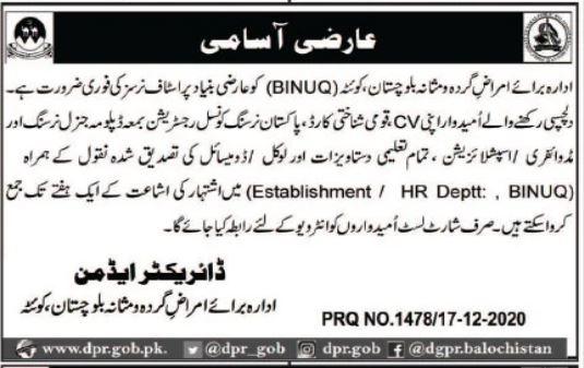 Nurse Jobs in Balochistan Institute of Nephrology Urology BINUQ