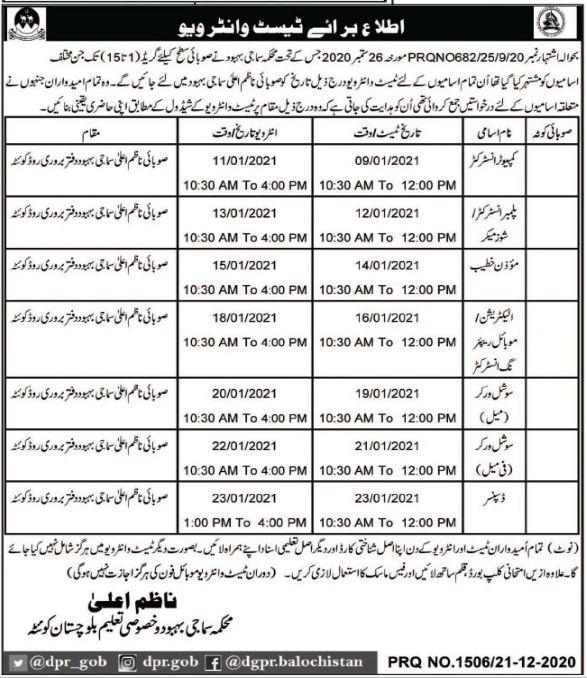Social Welfare Department Balochistan Interview Schedule