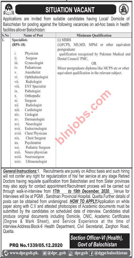 Balochistan Health Department Jobs Medical Specialists