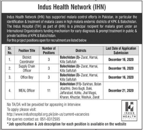 Indus Health Network IHN Jobs in Balochistan