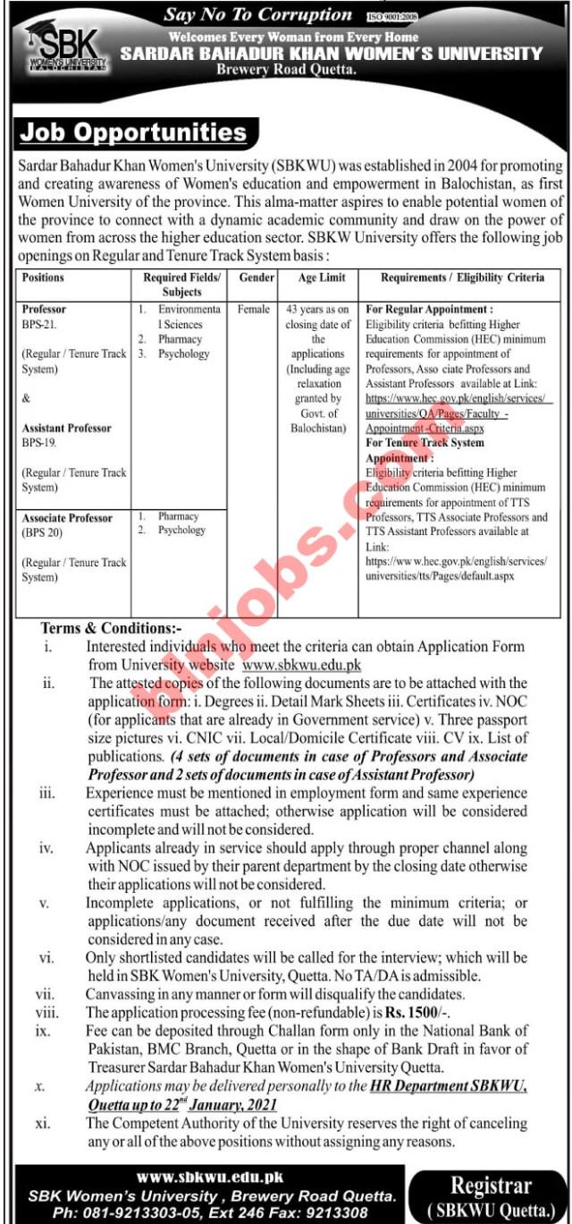Sardar Bahadur Khan Women's University SBK Jobs 2021