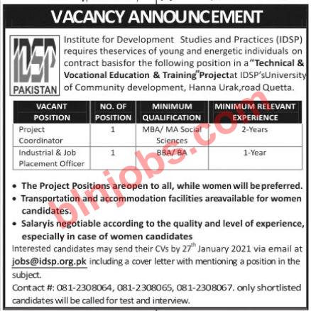 Institute for Development Studies and Practices Quetta Jobs