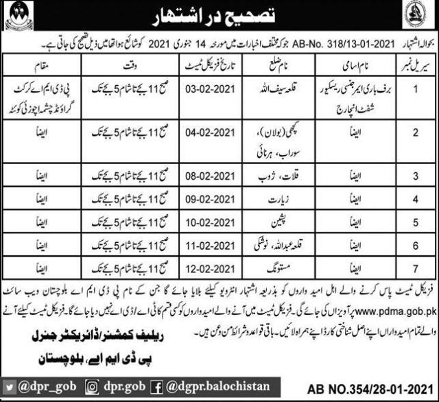 PDMA Balochistan Jobs Interview Schedule