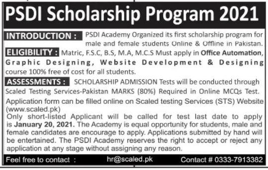 PSDI Scholarship Program 2021