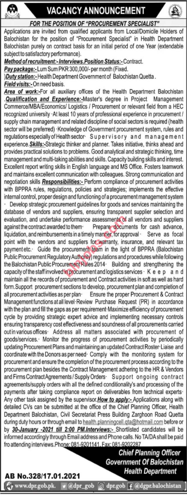 Balochistan Health Department Jobs