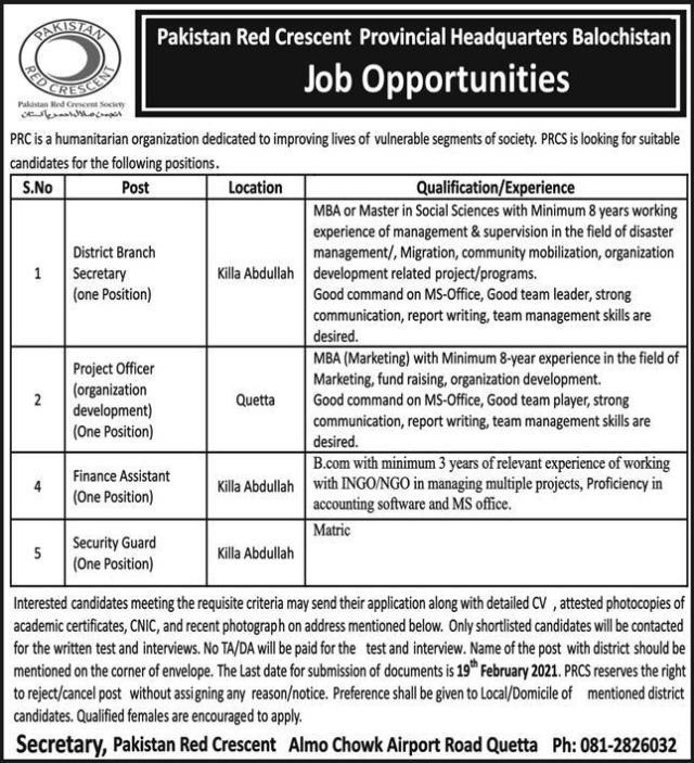 Pakistan Red Crescent Provincial Balochistan Jobs 2021