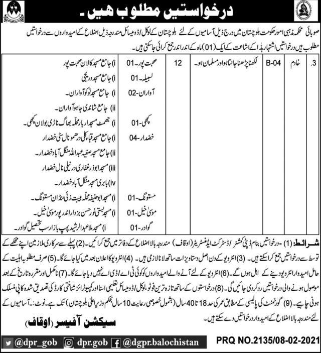Religious Affairs Department Balochistan Jobs