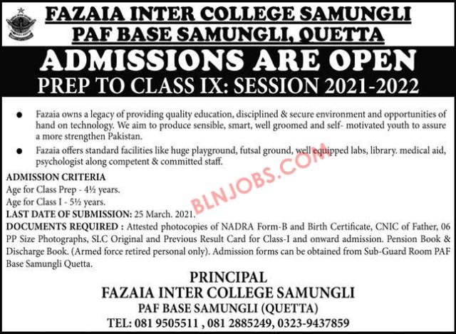 Fazaia Inter College Quetta Admissions 2021-2022