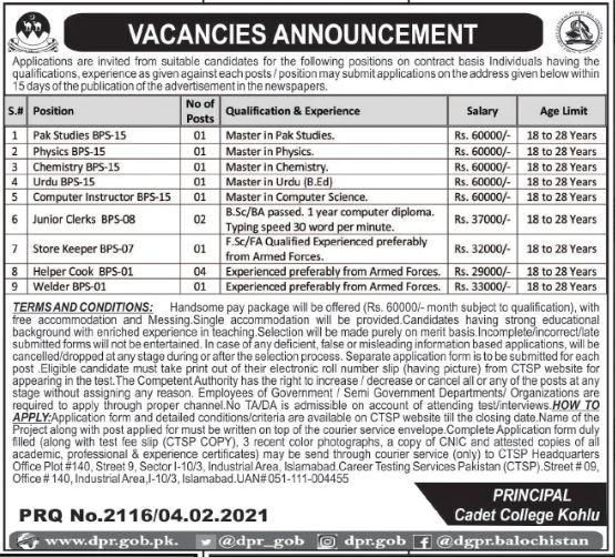 Cadet College Kohlu Jobs 2021
