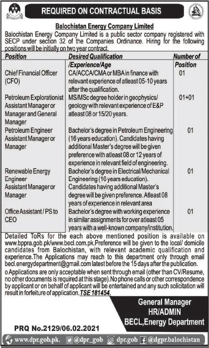 Balochistan Energy Company Limited Jobs 2021