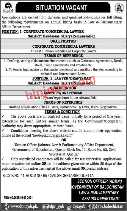 Law and Parliamentary Affairs Department Balochistan Jobs 2021