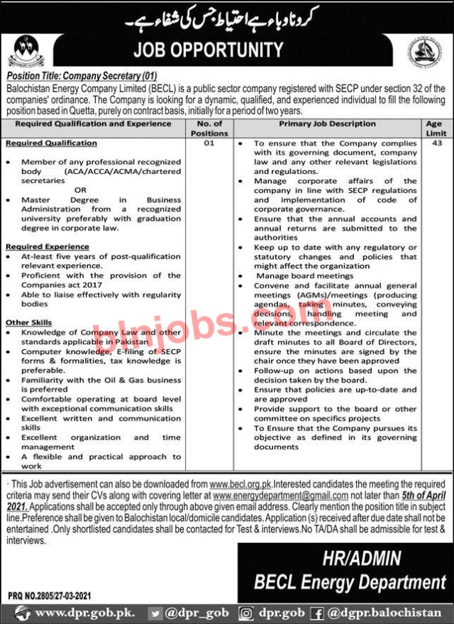 Balochistan Energy Company Limited BECL Job 2021