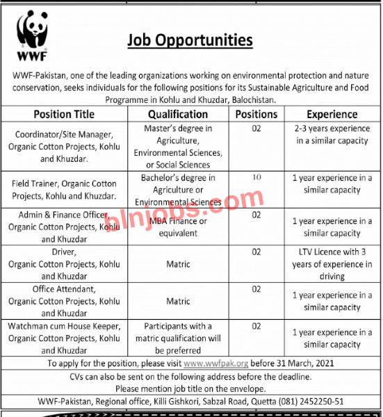 WWF Pakistan Jobs in Balochistan 2021