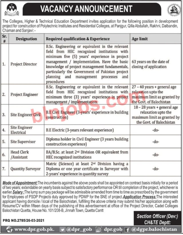 Higher and Technical Education Department Balochistan Jobs 2021