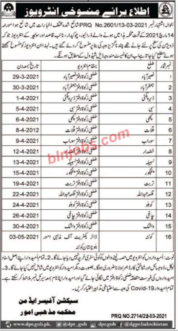 Cancellation/Reschedule of Interview Religious Affairs Department Balochistan