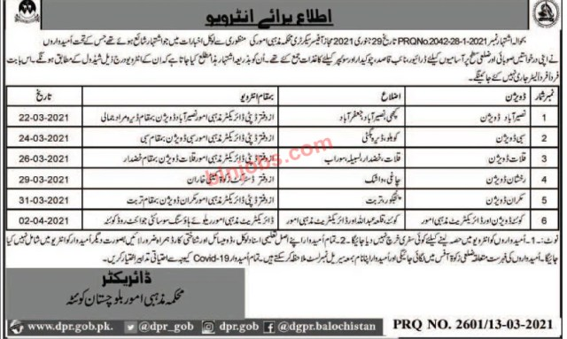 Religious Affairs Department Balochistan Jobs Interview Schedule