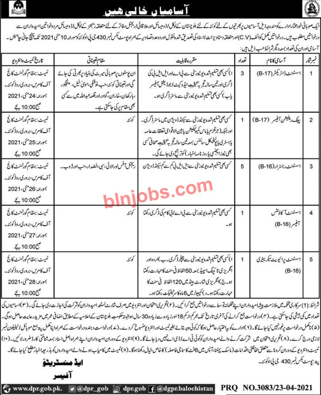 Government Jobs in Balochistan 2021