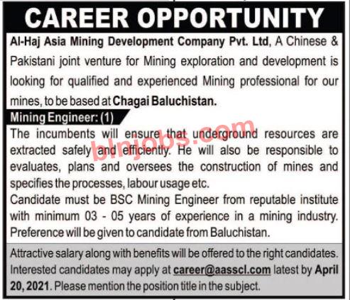 Al-Haj Asia Mining Development Company Chaghi Jobs 2021