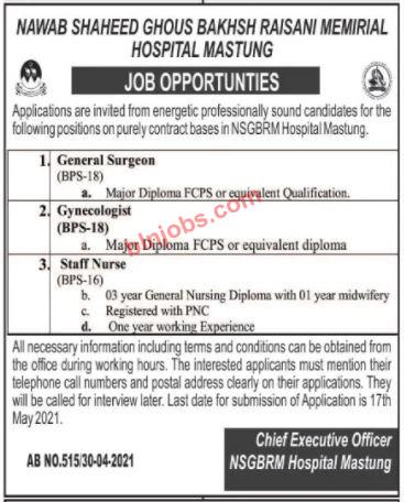 Jobs in NSGBRM Hospital Mastung 2021